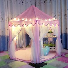 Pink Princess Castle Playhouse Tent Outdoor