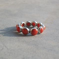 Natural Red Coral Ring - Silver Artisan Rings - Unique Handmade Rings $135.00