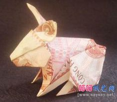 How to fold origami rabbit from the euro? Origami diagram of the rabbit. Dollar Bill Origami, Money Origami, Origami Box, Origami Flowers, Origami Bookmark Corner, Corner Bookmarks, Paper Art, Paper Crafts, Diy Crafts