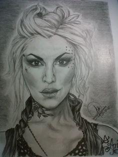 """Mi Adorada KAT VON D un retrato a lápiz de ese estilo """"Blondie"""" con el que apareció un día..."""