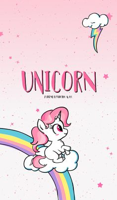 Simple doodle Cute Unicorn Theme with colorful rainbow, sweet candy, cutie star, and softly cloud. Let's dreaming