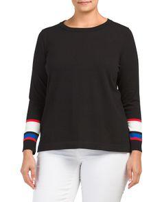 Plus Stripe Cuff Sweater