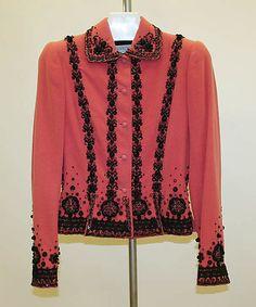 Jacket Mainbocher (American, 1890–1976) Date: 1947–49 Culture: American Medium: wool, silk, plastic, glass