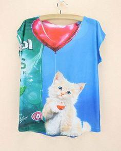 Fashion 2015 summer dress women tshirt cats printing top tees for girls European & American stylish female t-shirt drop shipping