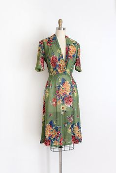 Vintage 1930s dress // 30s sheer floral dress   Etsy 1930s Dress, Vintage 1950s Dresses, Sheer Floral Dress, 1930s Fashion, Navy Blue Dresses, Absolutely Stunning, Wrap Dress, Style Inspiration, How To Wear