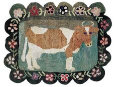 "Hooked Rug,  With oversized cow and unusual scalloped floral border.  New York state origin. Circa 1910.  29"" x 38"""