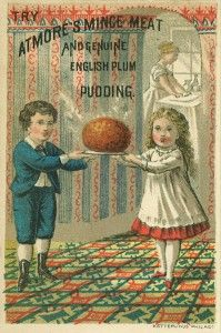 Trade card for Atmore's Mince Meat and Genuine English Plum Pudding, ca 1870s