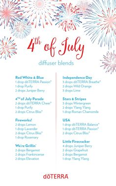 Are you as excited for the 4th of July as we are here at doTERRA? Celebrate America's birthday with these patriotic diffuser blends!