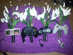 video game controllers incoporated into bouquets Video Game Wedding, Wedding Games, Wedding Planning, Wedding Inspiration, Wedding Ideas, Wedding Stuff, Real Weddings, Themed Weddings, Grad Parties