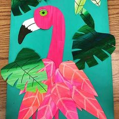 This flamingo is perfection. This boy was so proud of his finished project!!! It is such a great feeling to have the kids appreciate what we are doing in the classroom, and feel accomplished and proud of themselves.  #flamingoart #springart #artteachersofinstagram #artteachertribe #2ndgradeart #artlesson #artED #elementaryart
