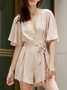 SHARE & Get it FREE | Plunging Neck Chiffon RomperFor Fashion Lovers…