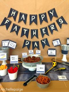 Tool Party for Father's Day - Holiday - Buvizyon Fathers Day Brunch, Fathers Day Banner, Fathers Day Crafts, Happy Fathers Day, Cute Fathers Day Ideas, Diy Father's Day Gifts Easy, Diy Gifts For Dad, Father's Day Diy, Father's Day Breakfast