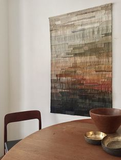 fully sachiko-stitched wall hanging, made with strips of handwoven silk on a cotton backing. hangs from a wooden rod (and two nails) size: 135 cm x...