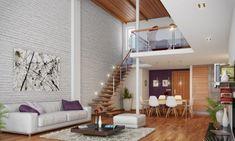 papier peint imitation brique blanche et élégante et un canapé blanc dans le salon