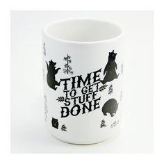 GET STUFF DONE mug. 15oz. ceramic. hand-printed. bear.. $18.00, via Etsy.