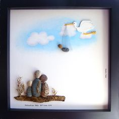 Unique New Baby Gift- Customized New Baby Gift- Family of Three and New Baby- Pebble Art by Medha Rode at www.etsy.com/shop/MedhaRode