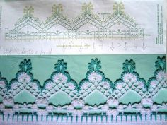 Check out the diagrams and learn to make more than 150 points, (crochet edgings) with images. There are several crochet borders that can be applied in various crochet projects. Filet Crochet, Crochet Lace Edging, Crochet Motifs, Crochet Potholders, Crochet Borders, Crochet Stitches Patterns, Crochet Chart, Lace Patterns, Crochet Trim