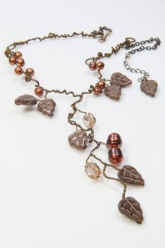 Brown Statement Necklace Brown Glass Leaf by CherylParrottJewelry