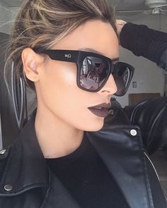 """Loving these #quay """"on the prowl"""" sunnies from @whitefoxboutique   Lip color is excessive by @shopvioletvoss"""