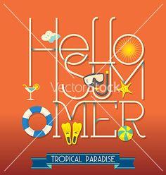 Hello summer typography vector by kraphix on VectorStock®