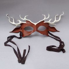 Stag Leather Mask In Chocolate And Ivory Woodland by beadmask