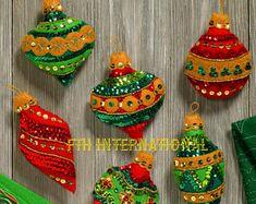 Bucilla adornos ostentosos ~ 6 PCE sentía navidad ornamento kit #86725, jeweled, 2017, DIY