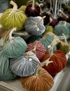 velvet pumpkins- @Jennifer Halloran I bet I can make these and right now, I have a gorgeous indigo blue silk velvet and six blasted yards of BROWN silk velvet. Sadly, that would mean I would have to move out of my apartment.