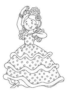 Une petite fille toute joyeuse de danser le flamenco, à colorier