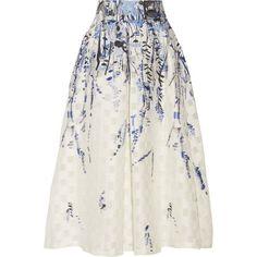 Lela Rose Fil coupé jacquard midi skirt (€1.470) ❤ liked on Polyvore featuring skirts, юбки, floral print skirt, calf length skirts, floral print midi skirt, knee length pleated skirt and floral pleated skirt
