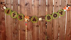 Woodland Creatures Banner Baby Shower with Deer, Squirrel, Hedgehog and Fox
