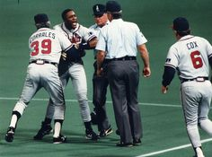 The Braves' Ron Gant argues the call after the Twins' Kent Hrbek pulled him off first base in Game 2 of the World Series on October 20, 1991