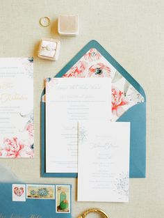 Blue and floral wedding invitation suite: Photography: Rachel Solomon - http://rachel-solomon.com/