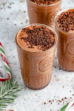 St. Nick's naughty & nice chocolate peppermint smoothie made with simple, nourishing ingredients and an option to make it boozy! This healthy mint chocolate smoothie recipe is naturally sweetened with dates and perfect for mixing in your favorite smoothie add-ins. A quick and easy breakfast or snack you'll love! #smoothie #chocolate #peppermint #vegan #breakfast #snack #mintchocolate