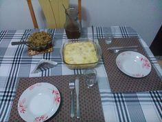 Couve-flor/frango gratinado, arroz com lentilhas e suco de uva (Julho 2014)