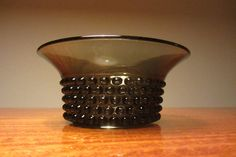 SAARA HOPEA - Nyppylä by Nuutajärvi - Smoky Grey Glass Hobnail Pattern Bowl - Made in Finland - 1950s