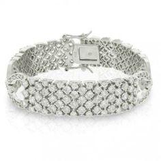 Bling Jewelry Silver Tone Art Deco Cubic Zirconia Bridal Tennis Bracelet 7.5in