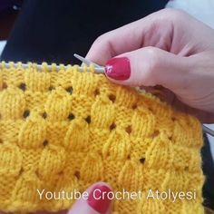"""Badem Örgü huzurlarınızda.. Anlatım Videosu hikaye ekranımda.. Linke ulaşamıyorsanız Google a """"Badem Örgü Crochet Atölyesi"""" şeklinde… Knitting Stitches, Knitting Designs, Knitting Patterns Free, Knit Patterns, Knitting Socks, Baby Knitting, Crochet Hooded Scarf, Crochet Slippers, Instagram"""