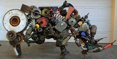 scrap metal sculpture, johannesburg Pieerre Mathieu Rhino sculpture