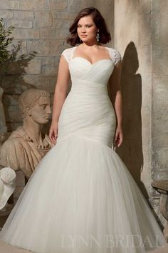 Mermaid Sweetheart Corset Tulle Plus Size Wedding Dress