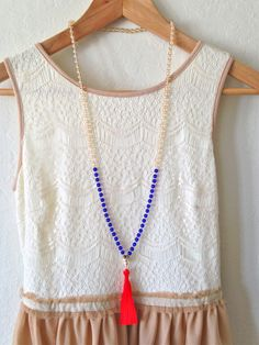 Hand-Knotted Beaded Tassel Necklace