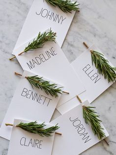 Place cards make any meal more special! Get a look at these great place card ideas for setting your Thanksgiving table! Noel Christmas, All Things Christmas, Christmas Crafts, Natural Christmas, Christmas Ideas, Simple Christmas, Christmas Countdown, Christmas Place Cards, Holiday Cards