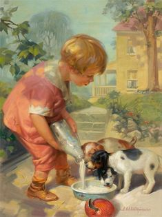 Illustration of child feeding puppies milk from old-fashioned bottle -- artist unknown.