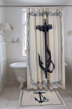 Anchor Shower Curtain in Ink design by Thomas Paul I Burke Decor Nautical Shower Curtains, Nautical Bathrooms, Pirate Bathroom, Navy Bathroom, Anchor Bathroom, Bathroom Ideas, Small Bathroom, Nautical Home, Nautical Anchor