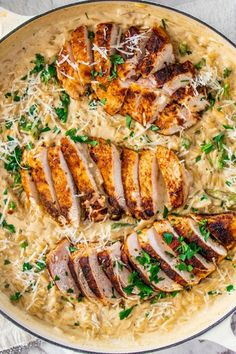 Creamy Parmesan Orzo with Chicken and Asparagus #easychickendinner #chickenrecipes #chickenbreastrecipes #orzorecipes #parmesanorzo #weeknightmeal Orzo Recipes, Seafood Recipes, Cooking Recipes, Healthy Recipes, Top Recipes, Healthy Food, Cake Recipes, Cooking Icon, Vegetarian Recipes