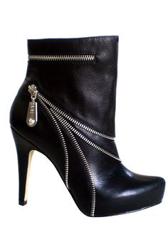 Black Zipper Ankle Bootie