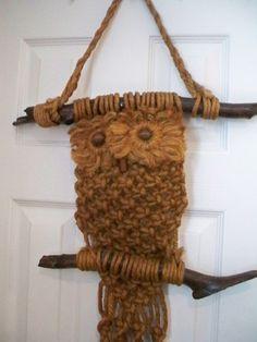 Vintage Owl Macrame Bead Wall Hanging Flower Pot Holder Tan Wood L | vintageville - Home Decor on ArtFire