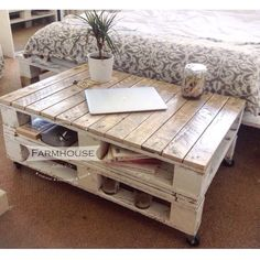 Farmhouse Industrial Reclaimed Pallet Coffee Table - Shabby Chic Upcycled Wheels Solid Wood, console table by FarmhousePalletsCo on Etsy https://www.etsy.com/listing/236445394/farmhouse-industrial-reclaimed-pallet