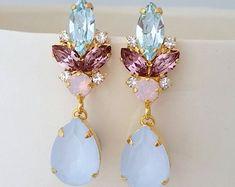 Blush chandelier earringsMorganite earringsBlush Bridal