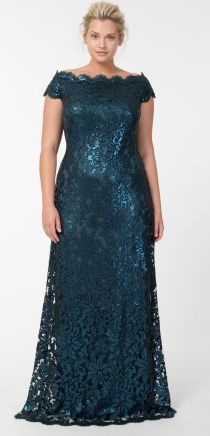 Paillette Embroidered Lace Off Shoulder Gown in Starry Night - Evening Gowns - Plus Size Evening Shop Plus Size Evening Gown, Plus Size Gowns, Plus Size Outfits, Modest Evening Gowns, Mom Dress, Lace Dress, Curvy Fashion, Plus Size Fashion, Moda Fashion