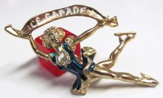 Vintage Painted Ice Capades Brooch Pin by TheCedarChestMidland, $9.99